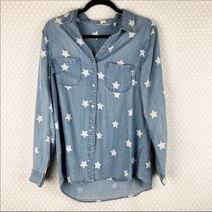 Soft Surroundings | chambray star print button top